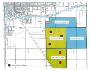 Annexations in 2014 by the city of Perry, in blue, qualified the Perry Industrial park in the  IEDA general industrial park category. Additional annexations, in green, with the likely placement of wind turbines, in red, might eventually permit the industrial park to qualify as a sustainable certified site.