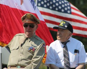U.S. Army Air Corps Capt. Jerry Yellin, left, and U. S. Army Chaplain Harlan Lekowsky shared the dais Sunday at the Iowa Spirit of '45 ceremony in Van Meter.