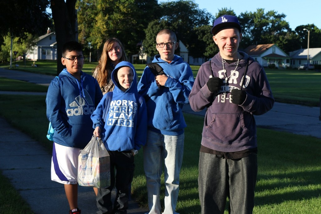 Walking to school Monday morning were, from left, sixth grader Jose Flores, ninth grader Kaleiah Hein, six grader Bowen Hein, ninth grader Kayen Hein and 10th grader Sayde Hein.