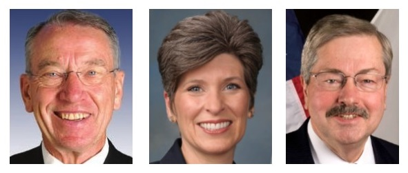 Opposing the EPA Waters of the U.S. rule are, from left, U.S. Sen. Charles Grassley, U.S. Sen. Joni Ernst and Iowa Gov. Terry Branstad.