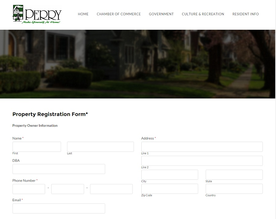 Landlords can register their rental properties online with the city of Perry.