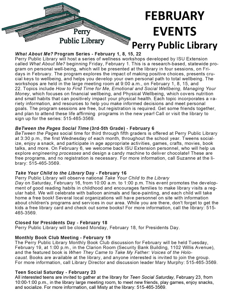 Perry Public Library events - february 2019