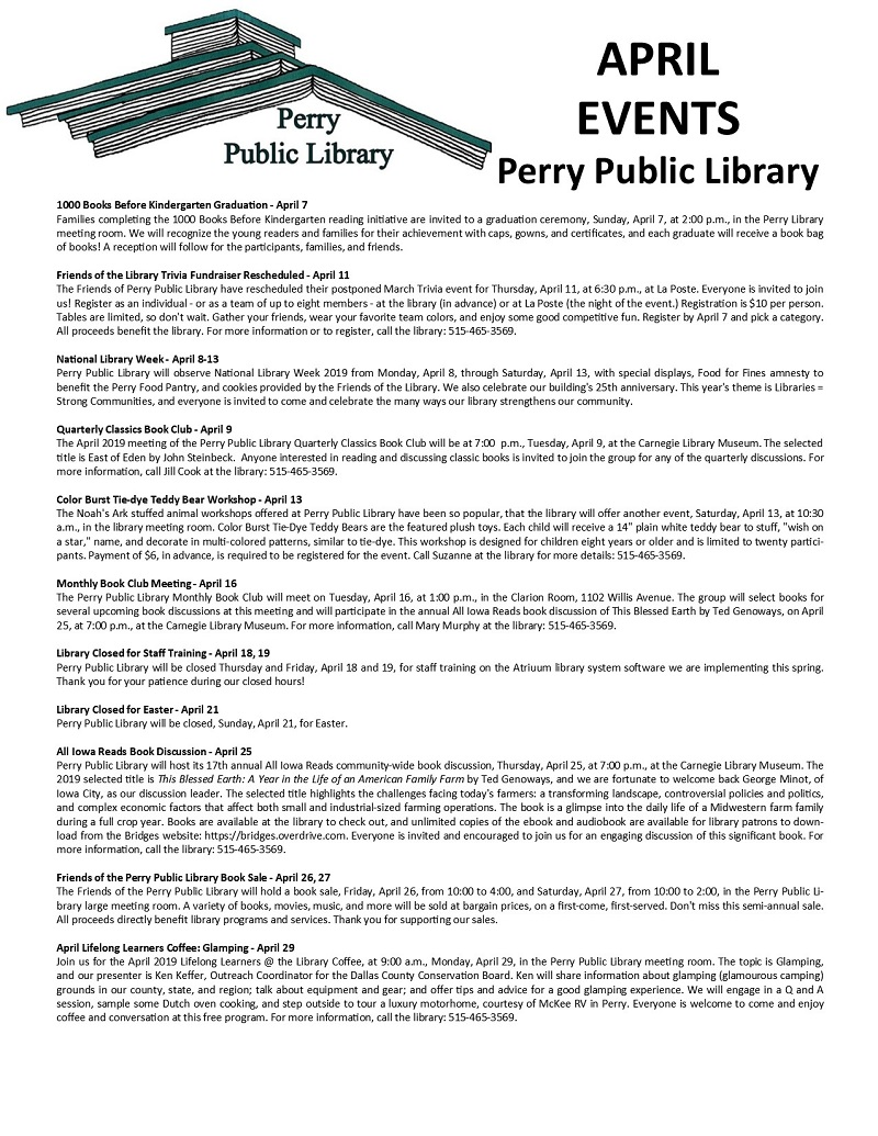 Perry Public Library events - april 2019 = 2
